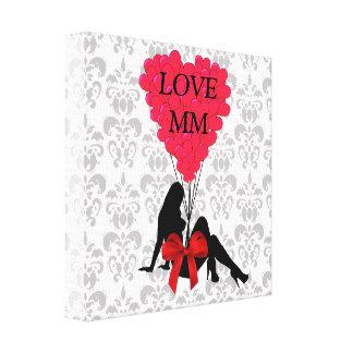 ロマンチックで名前入りなバレンタイン キャンバスプリント