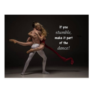 ロマンチックで感動的な引用文のバレエのカップル ポストカード
