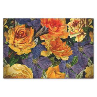 ロマンチックで暗いヴィンテージのばら色の花模様 薄葉紙