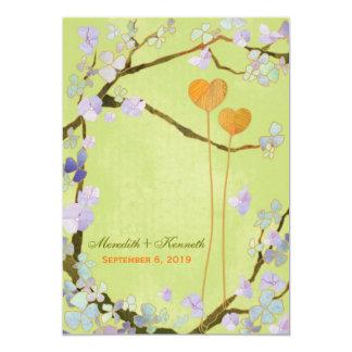 ロマンチックで素朴なライムグリーンの結婚式招待状 カード