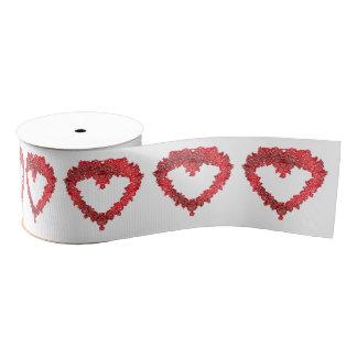 ロマンチックで赤いバレンタイン愛ハート グログランリボン