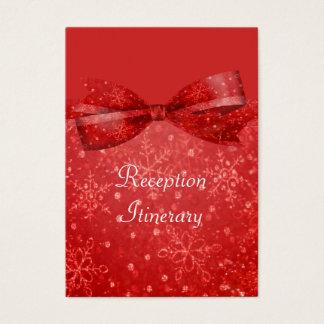 ロマンチックで赤い及びきらめくの雪片の結婚 名刺