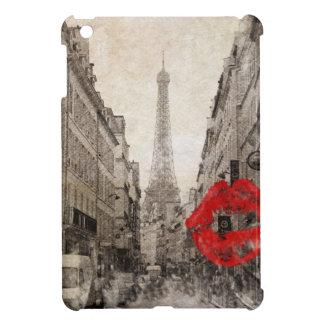 ロマンチックで赤い唇はI愛パリエッフェル塔に接吻します iPad MINIケース
