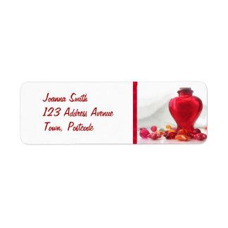 ロマンチックで赤い愛ハートのボトルの写真撮影 ラベル