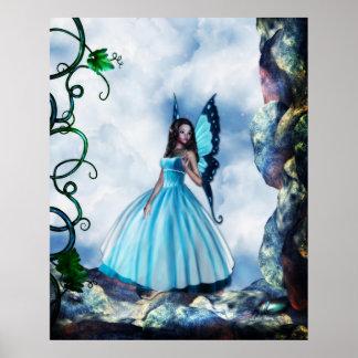 ロマンチックで青い蝶妖精ポスター ポスター