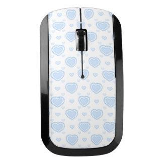 ロマンチックで青及び白いハート ワイヤレスマウス