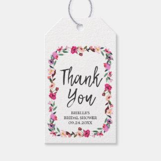 ロマンチックなおとぎ話のリースのブライダルシャワーは感謝していしています ギフトタグ