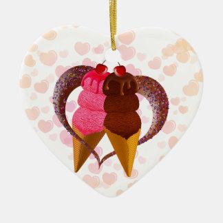 ロマンチックなアイスクリーム セラミックオーナメント