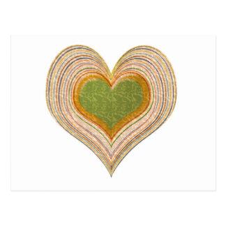 ロマンチックなエメラルドの金ゴールドのハート ポストカード