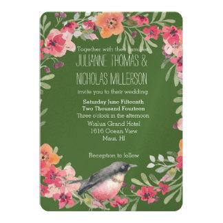 ロマンチックなオレアンダーの鳥のピンクの花の結婚式 カード