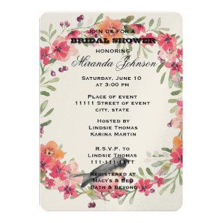 ロマンチックなオレアンダーの鳥のピンクの花柄のブライダルシャワー カード