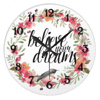 ロマンチックなオレアンダーの鳥のピンクの花柄の夢 ラージ壁時計