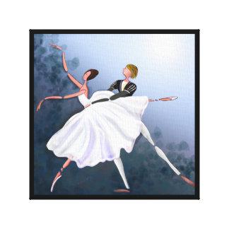 ロマンチックなカップルの踊り、GISELLEのバレエのキャンバス キャンバスプリント