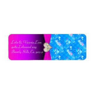 ロマンチックなガラスハートの鮮やかなピンクの輝きの結婚式 ラベル