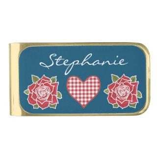 ロマンチックなギンガムのハートおよび赤いバラのマネークリップ ゴールド マネークリップ