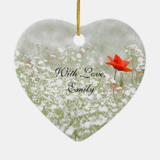 ロマンチックなケシの花赤く白い草原の自然 セラミックオーナメント