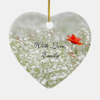 ロマンチックなケシの花赤く白い草原の自然 陶器製ハート型オーナメント
