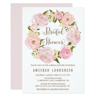 ロマンチックなシャクヤクのリースのブライダルシャワーの招待状 12.7 X 17.8 インビテーションカード