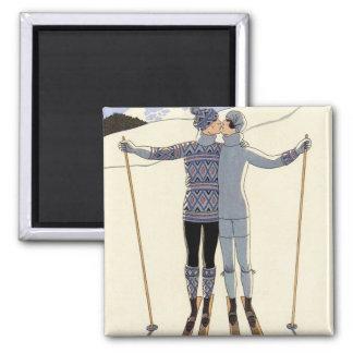 ロマンチックなスキーカップルの磁石 マグネット