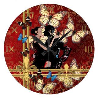 ロマンチックなダンサーおよび蝶 ラージ壁時計