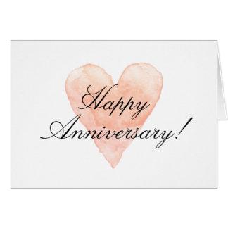ロマンチックなハートの幸せな記念日日カード カード