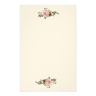 ロマンチックなバラのバラのつぼみのエレガントなヴィンテージのビクトリア時代の人 便箋