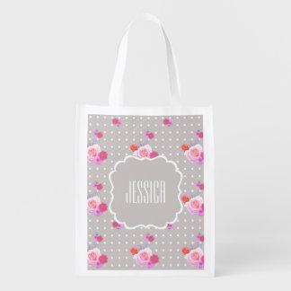 ロマンチックなバラの再使用可能な買い物袋の名前をカスタムする 買い物袋