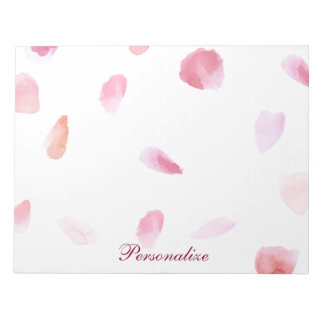 ロマンチックなバラの花びら ノートパッド