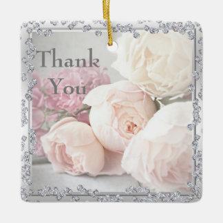 ロマンチックなバラ及びダイヤモンドは感謝していしています セラミックオーナメント