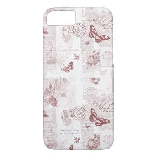 ロマンチックなバラ色のブラウンのヴィンテージのラブレターのコラージュ iPhone 8/7ケース