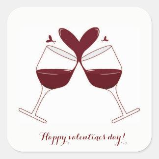 ロマンチックなバレンタインのステッカー スクエアシール