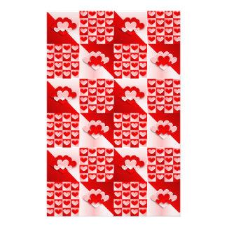 ロマンチックなバレンタイン愛ハートの赤く白いハート 便箋