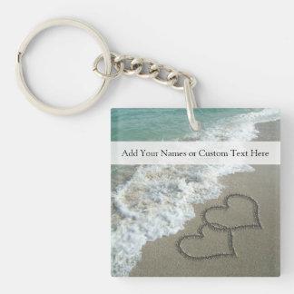 ロマンチックなビーチのハート キーホルダー