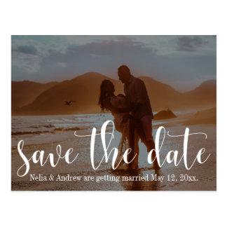 ロマンチックなビーチの写真のタイポグラフィ30の保存日付1 ポストカード