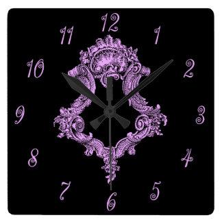 ロマンチックなピンクおよび黒い スクエア壁時計