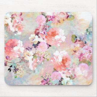 ロマンチックなピンクのティール(緑がかった色)の水彩画のシックな花パターン マウスパッド