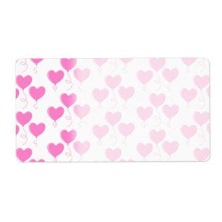 ロマンチックなピンクのハートの気球パターン ラベル