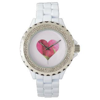 ロマンチックなピンクのバラのハート 腕時計
