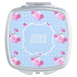 ロマンチックなピンクのバラの名前をカスタムするのコンパクトの鏡