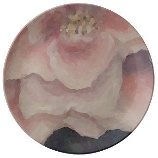 ロマンチックなピンクのバラの芸術のプレートのバラのぼろぼろの上品 磁器プレート