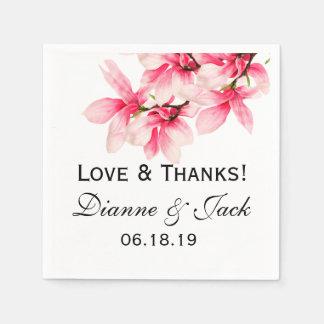 ロマンチックなピンクのマグノリアの花の結婚式 スタンダードカクテルナプキン