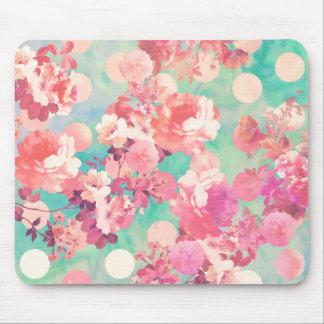 ロマンチックなピンクのレトロの花パターンティール(緑がかった色)の水玉模様 マウスパッド