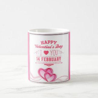 ロマンチックなピンクの幸せなバレンタインデー コーヒーマグカップ