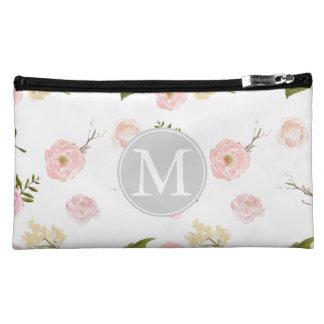 ロマンチックなピンクの庭の水彩画の花柄のモノグラム コスメティックバッグ