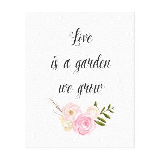 ロマンチックなピンクの庭の水彩画の花柄 キャンバスプリント