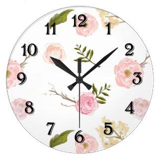 ロマンチックなピンクの庭の水彩画の花柄 ラージ壁時計