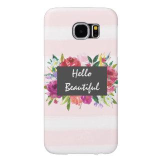 ロマンチックなピンクの水彩画のストライプな花の美しい SAMSUNG GALAXY S6 ケース
