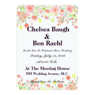 ロマンチックなピンクの水彩画のバラの結婚 カード