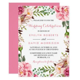 ロマンチックなピンクの花のリースの覆いのフォーマルな結婚式 カード