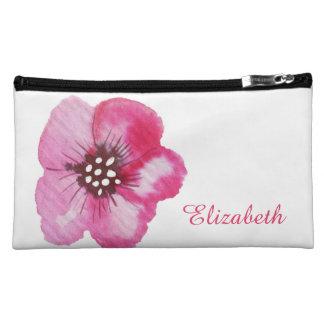 ロマンチックなピンクの花の水彩画の名前をカスタムする コスメティックバッグ
